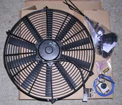 "16"" electric fan and adjustable thermostat kit."